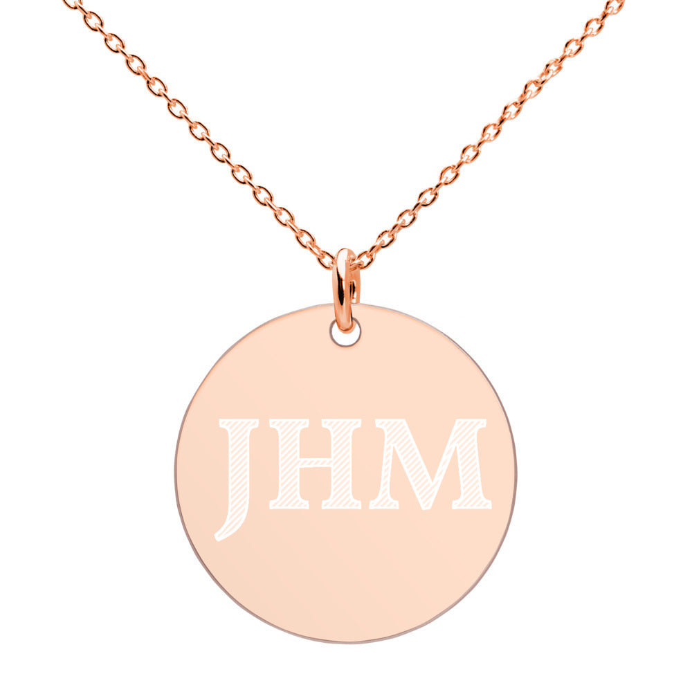Engraved JHM Gold Disc Necklace