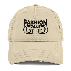 Fashion Gang Distressed Dad Hat ( Black or Gold Letters )