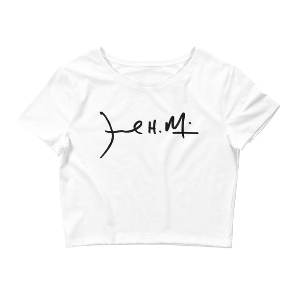Signature Women's Crop Tee ( Black logo )