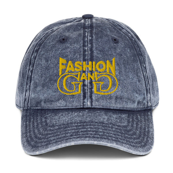 Fashion Gang Vintage Cotton Twill Cap ( White or Gold Letters )