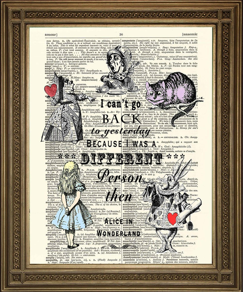 CAN'T GO BACK TO YESTERDAY: Alice in Wonderland Dictionary Art Print - Print Arcade USA