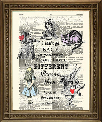 CAN'T GO BACK TO YESTERDAY: Alice in Wonderland Dictionary Art Print - The Print Arcade