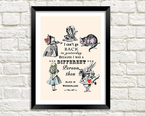 STAMPA DI PERSONA DIVERSA: Vintage Alice in Wonderland Quote Art