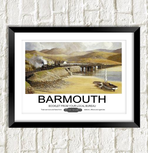 BARMOUTH POSTER: Vintage Wales Rail Travel Advert - Print Arcade USA