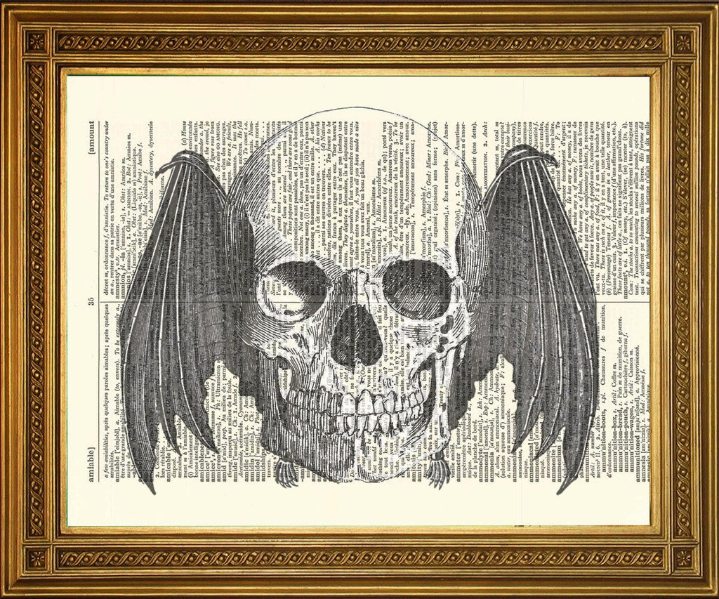 FLYING SKULL PRINT: Dictionnaire Page Death Art - Print Arcade USA