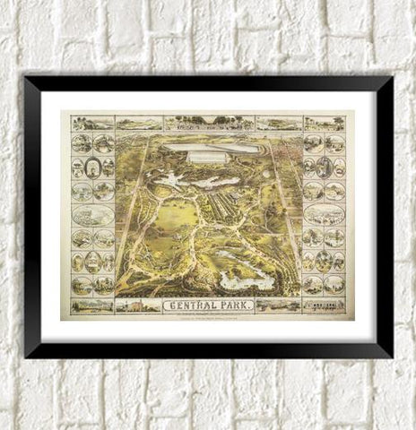 CENTRAL PARK MAP: Vintage New York Art Print