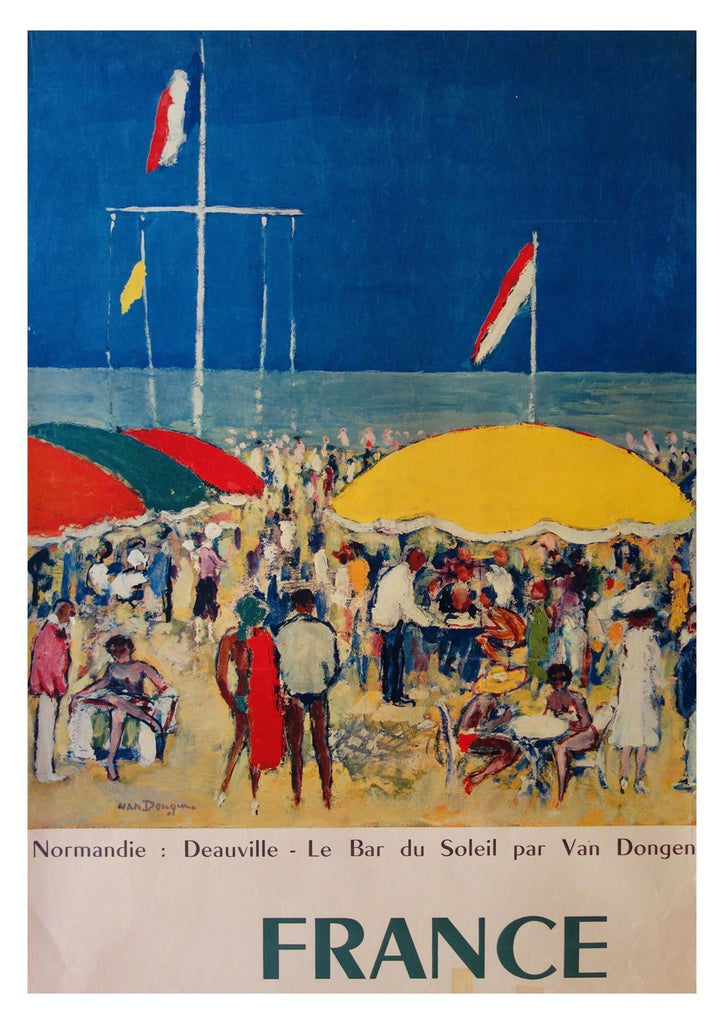 DEAUVILLE BEACH PLAKAT: Vintage France Holiday Travel Print - Print Arcade USA