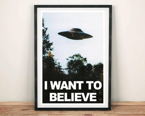 X-FILES TV POSTER: 'I Want to Believe' UFO Print