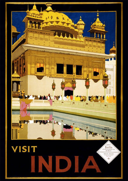 ZIE INDIA POSTER: Vintage Temple Tourism Print