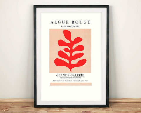 GALLERY EXHIBITION POSTER: Henri Matisse inspired Red Leaf Print