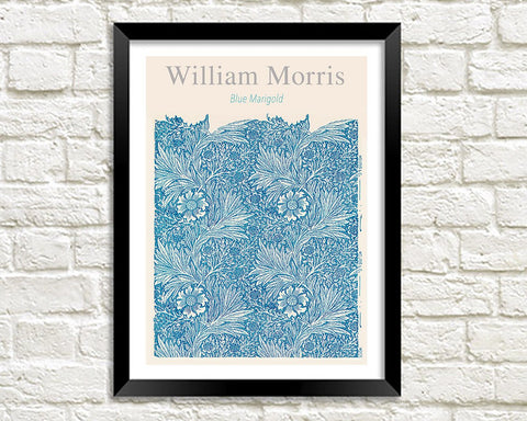 WILLIAM MORRIS ART PRINT: Blue Marigold Design Artwork
