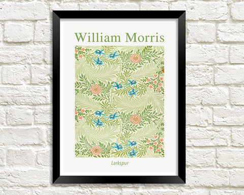 WILLIAM MORRIS ART PRINT: Larkspur Pattern Design Artwork