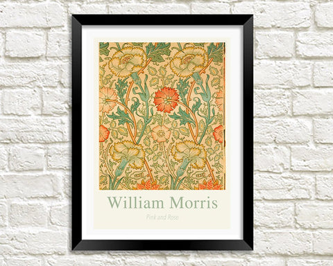 WILLIAM MORRIS ART PRINT: Pink and Rose Pattern Design Artwork