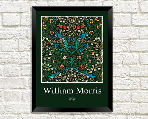 WILLIAM MORRIS ART PRINT: Tulip Flower Pattern Design Artwork