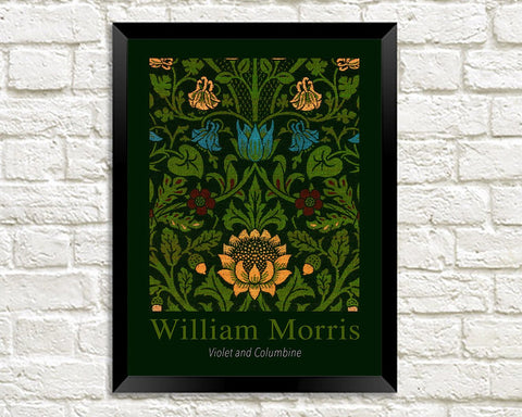 WILLIAM MORRIS ART PRINT: Violet and Columbine Design Artwork