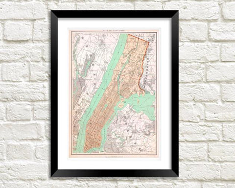 NEW YORK MAP: Vintage City Map Print