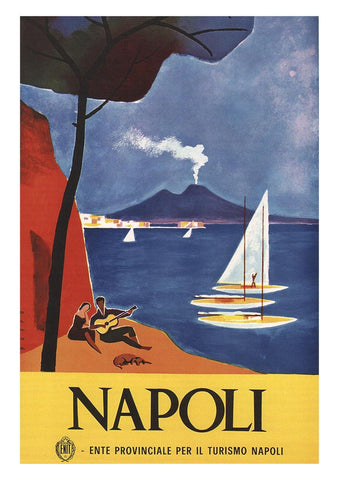 NAPLES TRAVEL POSTER: Vintage Italian Travel Advert