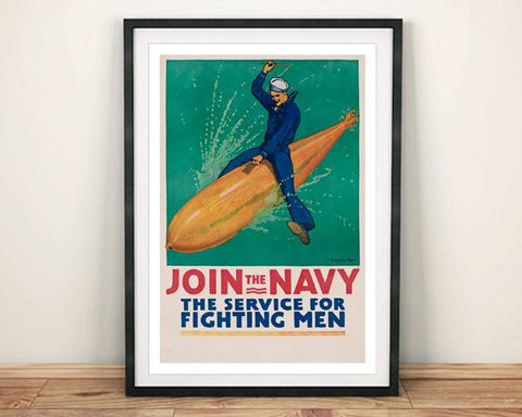 JOIN THE NAVY POSTER: Vintage Advert Art Print