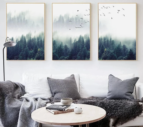 FOREST LANDSCAPE ART: Misty Fir Trees Canvas Wall Prints - Stampa Arcade USA