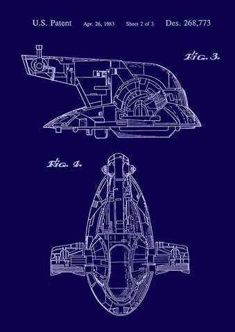 SPACESHIP PRINT: Star Wars Slave Patent Art Poster