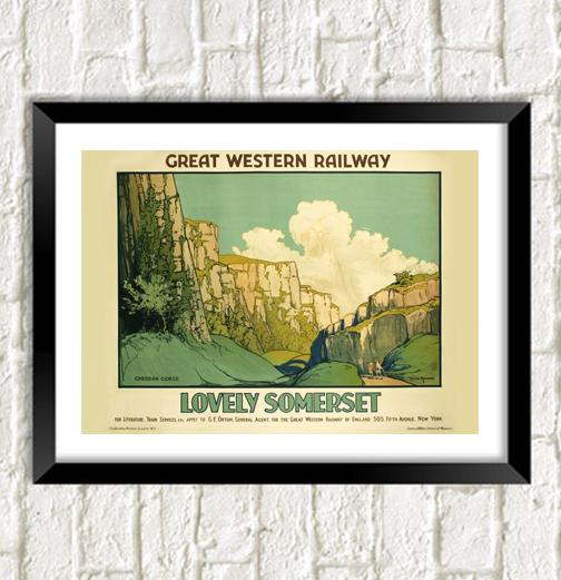 SOMERSET FERROVIA POSTER: Cheddar Gorge Train Print