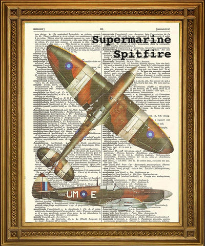 AIRCRAFT ART WW2: Vintage War Planes Dictionary Prints - Stampa Arcade USA