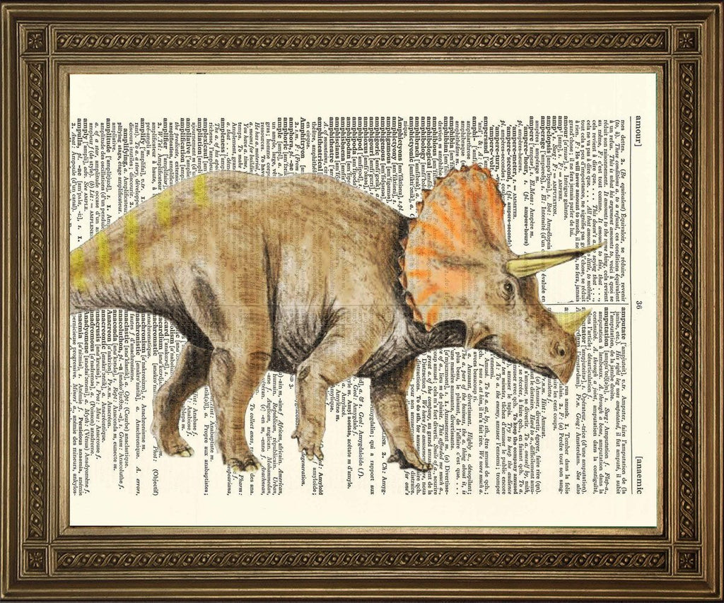IMPRESSION DICTIONNAIRE TRICERATOPS: Illustration d'Art dinosaure - Print Arcade USA