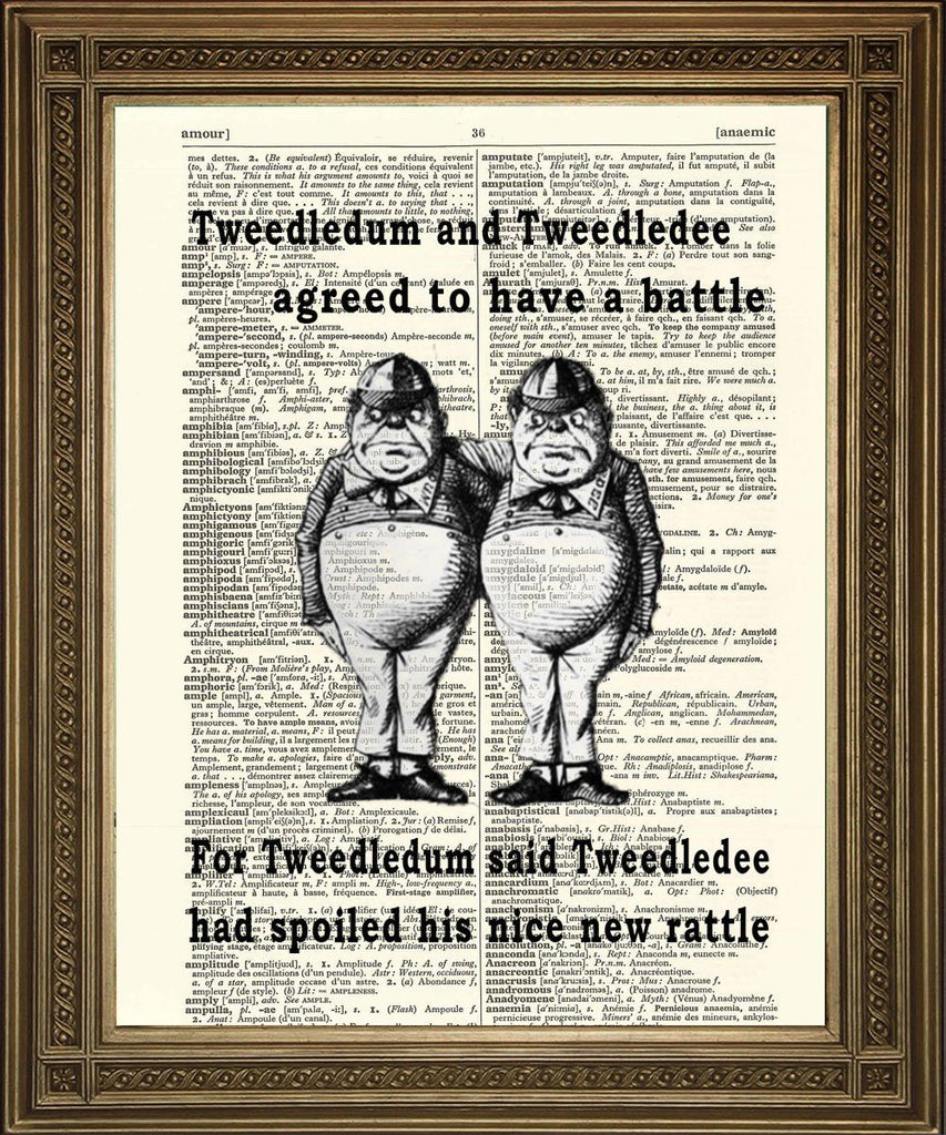 TWEEDLEDUM & TWEEDLEDEE: Vintage Tenniel Alice Dictionary Print - Print Arcade USA