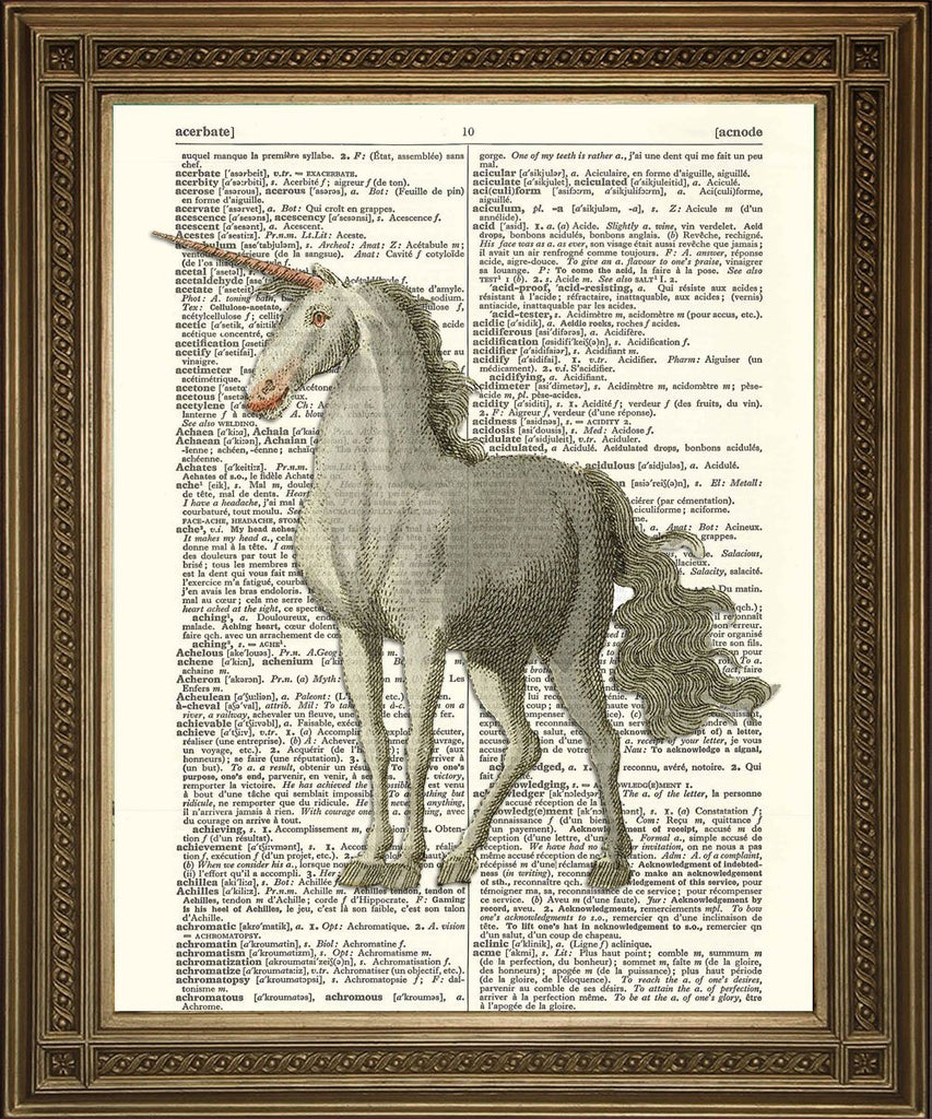 UNICORN PRINT: Vintage Dictionary Art - Print Arcade USA