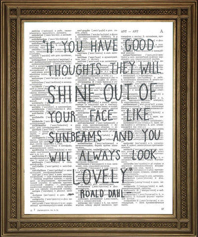 ROALD DAHL PRINT: Lovely Quote from The Twits, Dictionary Art - Print Arcade USA