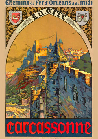 CARCASSONNE TRAVEL POSTER: French Languedoc Hilltop Citadel Advert
