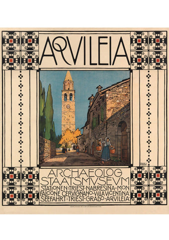 AQUILEIA MUSEUM POSTER: Vintage Italy Travel Advert