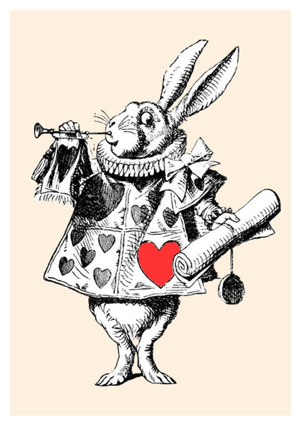 WHITE RABBIT PRINT: Alice in Wonderland Red Heart Herald - The Print Arcade