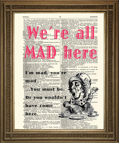 MAD HATTER PRINT: Alice in Wonderland Dictionary Art - Print Arcade USA