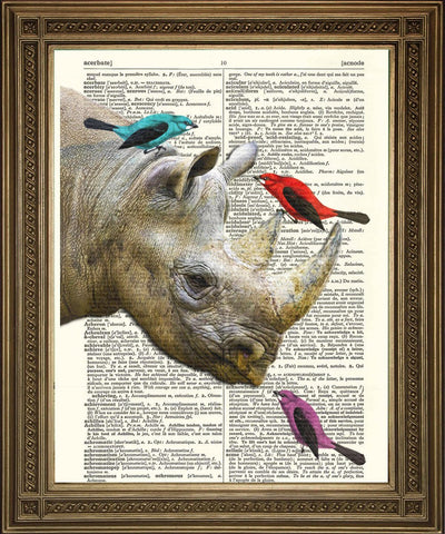 RHINO WITH BIRDS: Animal Friends Dictionary Art Print - The Print Arcade