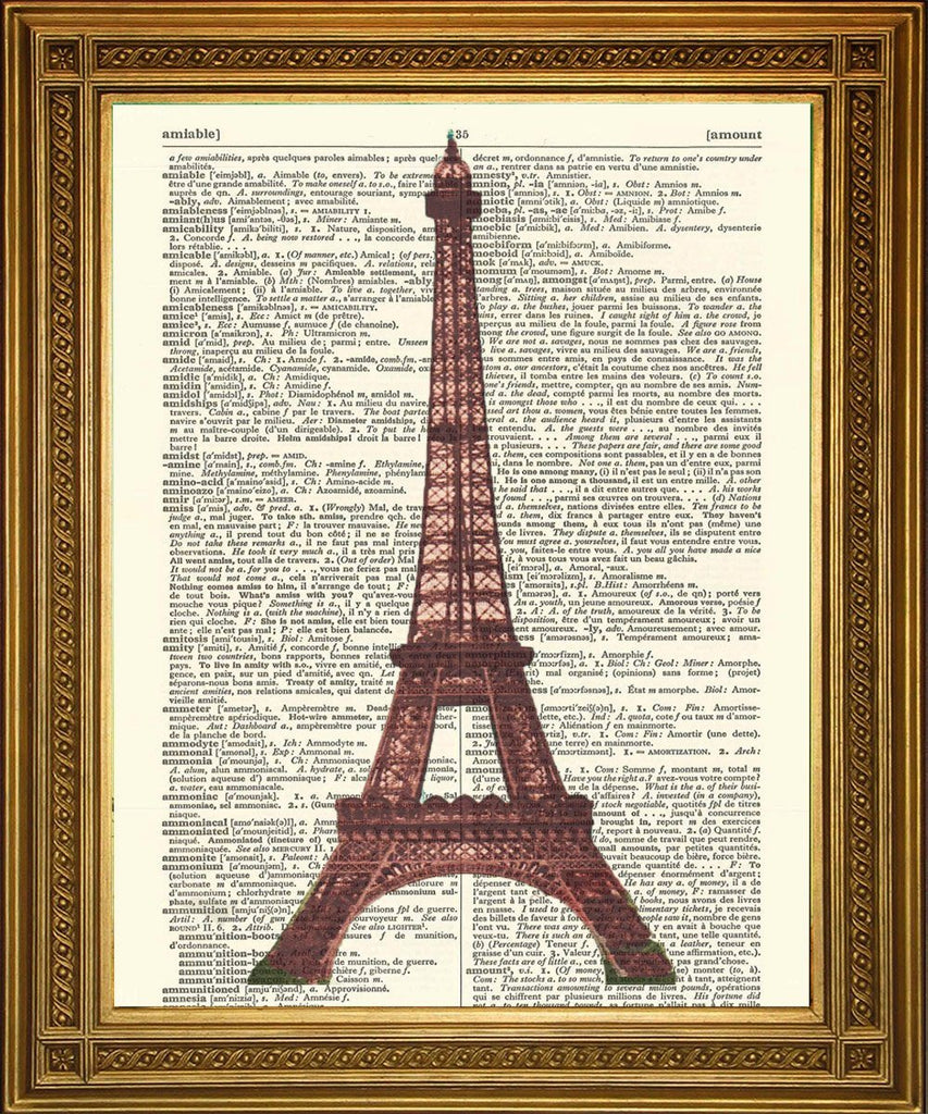 EIFFEL TOWER PARIS PRINT: French Dictionary Page Art - Print Arcade USA