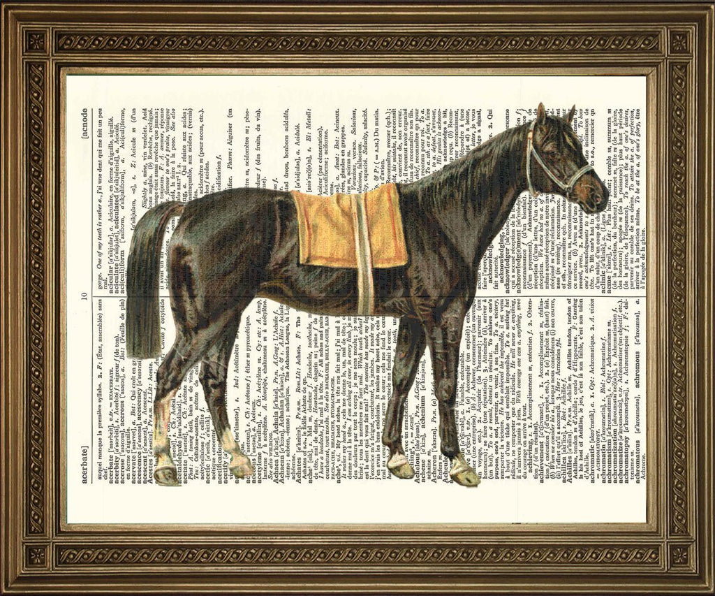 RACING HORSE: Vintage Black Beauty Dictionary Page Art Print - Print Arcade USA