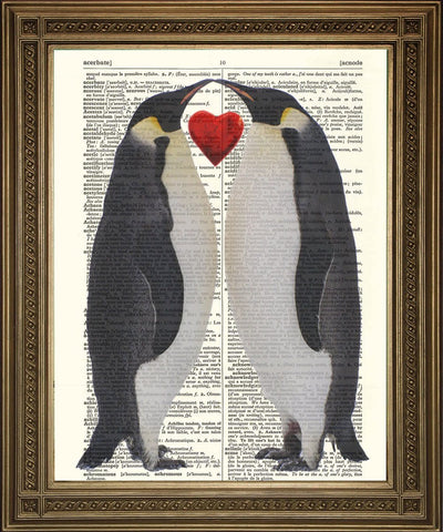 PENGUIN FRIENDS LOVE: Vintage Dictionary Print - The Print Arcade