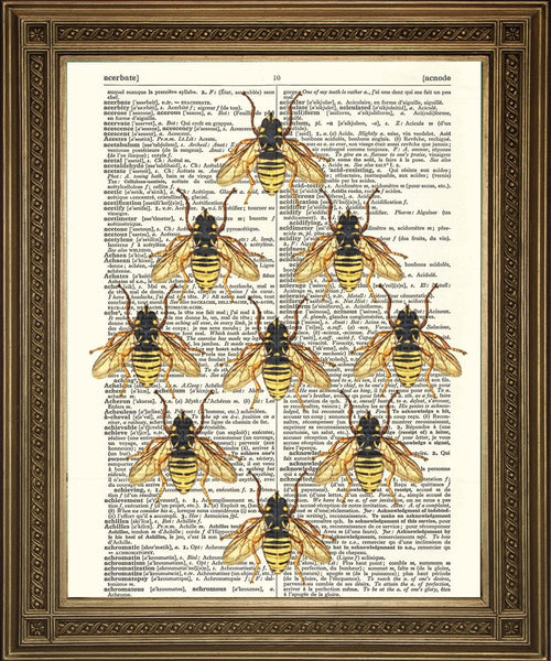 HONINGBEEN PRINT: 'Bee My Honey' Woordenboek Kunst - Afdrukken Arcade VS.