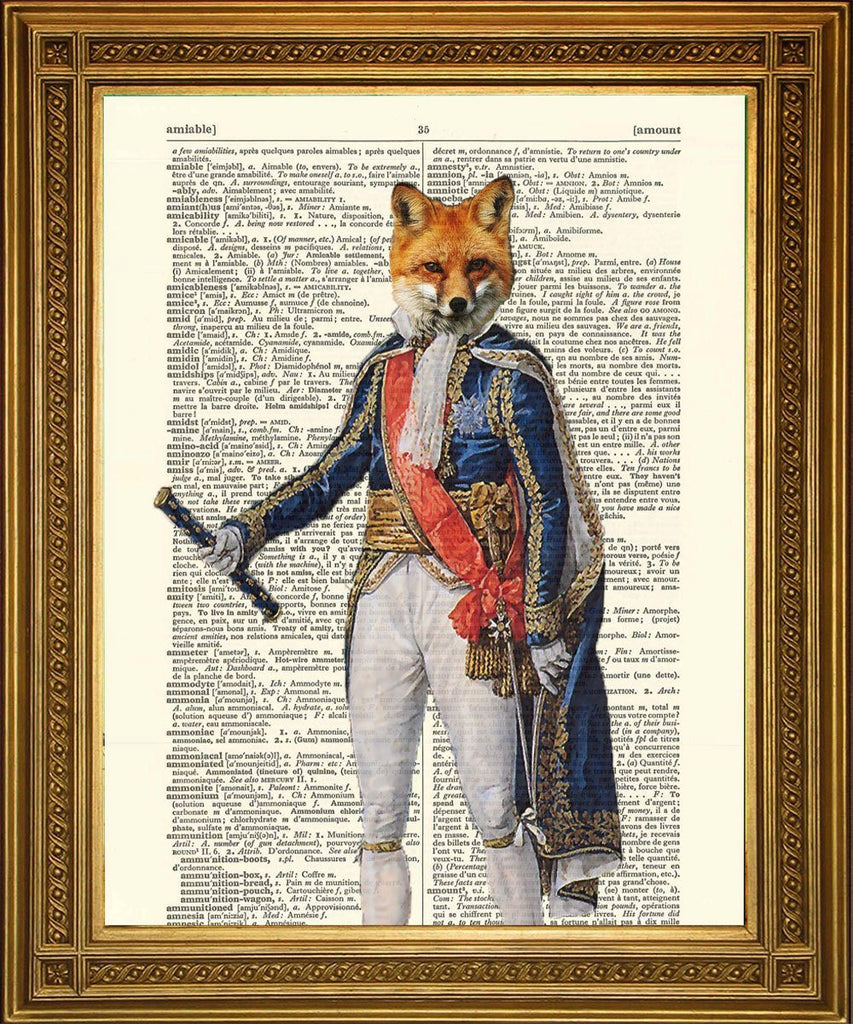 NAPOLEON FOX PRINT: Spaß Tier Art Dictionary Print - Print Arcade USA