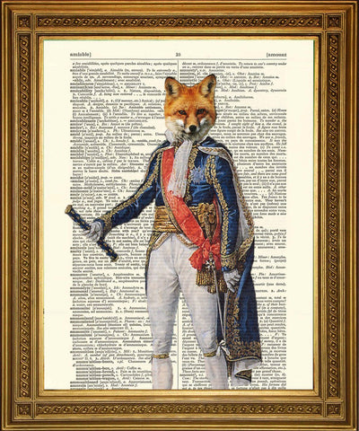 NAPOLEONE FOX PRINT: Fun Animal Art Dictionary Stampa - The Print Arcade