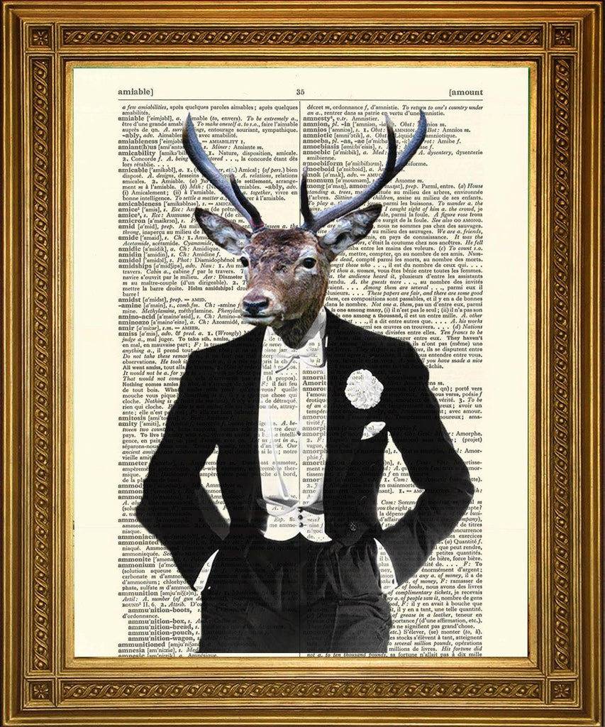 DINNER PARTY DEER: impression d'art avec dictionnaire Stag - Print Arcade USA