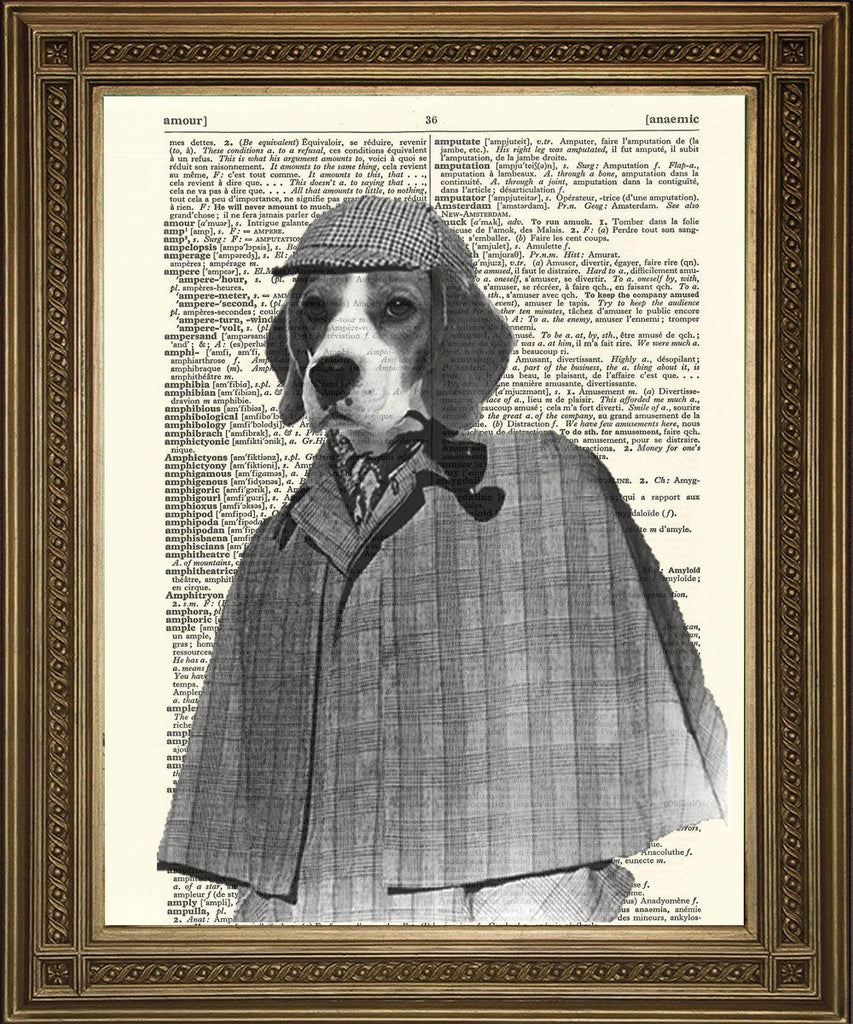 SHERLOCK HOLMES PRINT: Beagle Dog Dictionary Page Wall Hanging - The Print Arcade