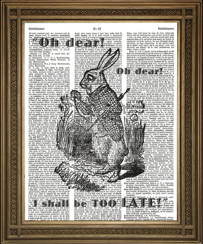 WHITE RABBIT LATE! Alice Dictionary Page Art Print - Print Arcade USA