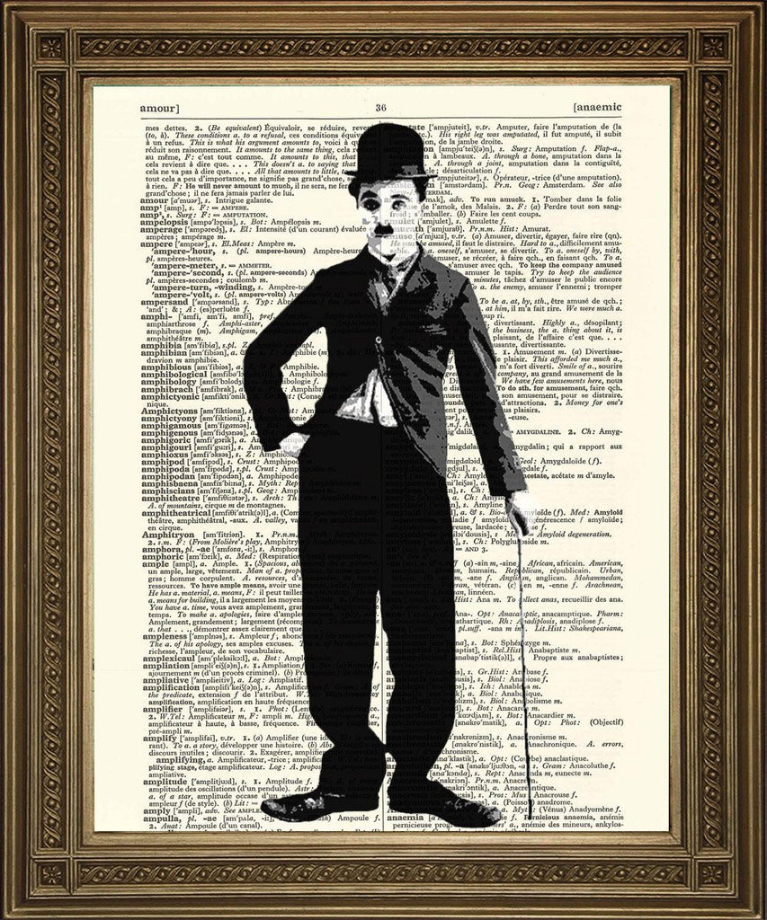CHARLIE CHAPLIN PRINT: Vintage Black and White Movie Star - Print Arcade USA