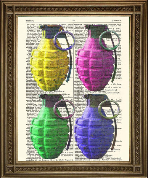 GRENADES À LA MAIN: Illustrations de dictionnaire de bombes colorées - Print Arcade USA
