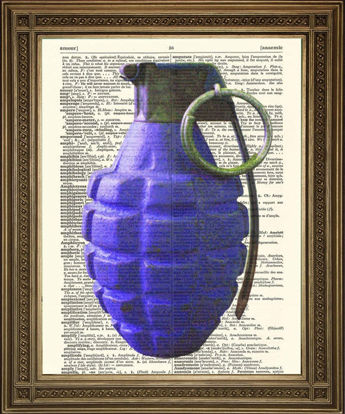 HAND GRENADES: Coloured Bombs Dictionary Art Prints - The Print Arcade