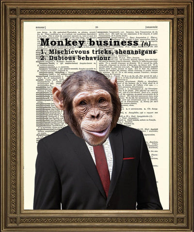 MONKEY BUSINESS: Fun Chimp Dictionary Art Print - The Print Arcade