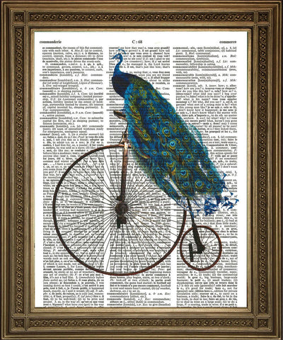 PEACOCK ON PENNY FARTHING: Bird Riding Bike Dictionary Print - Print Arcade USA