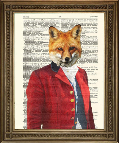 FOX HUNTING PRINT: Master of Hounds in Red Coat, Dictionary Art - Print Arcade USA
